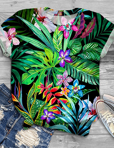 cheap Plus Size Tops-Women's Plus Size Tops T shirt Floral Graphic Leaf Print Short Sleeve Crewneck Basic Black Big Size XL XXL 3XL 4XL 5XL / Holiday
