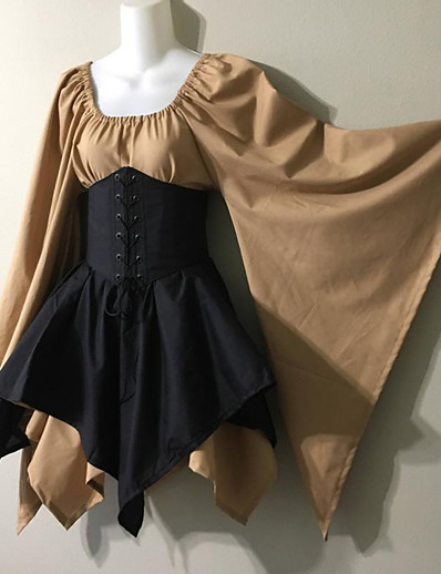 cheap Anime Cosplay-Princess Medieval Dress Women's Costume Green / Black / Black / Brown Vintage Cosplay Long Sleeve Party / Cocktail Festival Short / Mini