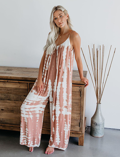 cheap Jumpsuits & Rompers-LITB Basic Women's Printed Jumpsuit Wide-Leg Leisure Pants Daily Comfy