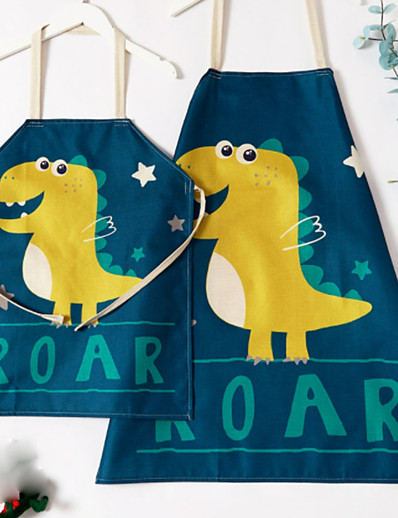 cheap Family Matching Outfits-Mommy and Me Cute Dinosaur&Star Pattern Aprons