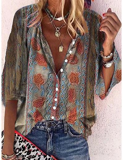 cheap Women's Tops-Women's Bohemian Theme Blouse Shirt Floral Print Shirt Collar Tops Light Brown