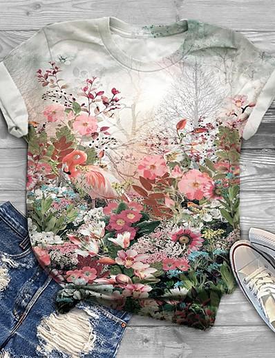 cheap Plus Size Tops-Women's Plus Size Tops T shirt Floral Graphic Print Short Sleeve Crewneck Basic White Big Size XL XXL 3XL 4XL 5XL / Loose