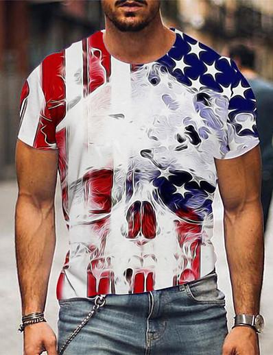 cheap Men's 3D-Men's Tee T shirt Shirt 3D Print Graphic 3D Skull American Flag Print Short Sleeve Causal Tops Designer Big and Tall White