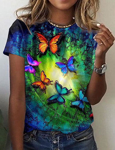 cheap Tees & T Shirts-Women's Butterfly Painting T shirt Graphic Butterfly Print Round Neck Basic Tops Blue