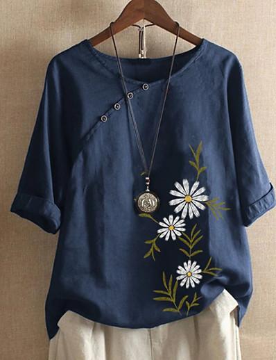 cheap Women-Women's Plus Size Tops Blouse Shirt Floral Short Sleeve Round Neck Spring Summer Dark Blue Big Size L XL XXL XXXL 4XL