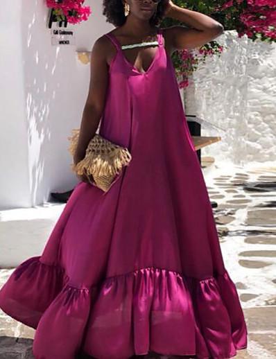cheap Plus Size Dresses-Women's Plus Size Dress Swing Dress Maxi long Dress Sleeveless Plain Summer Rose Red XL 2XL 3XL 4XL 5XL