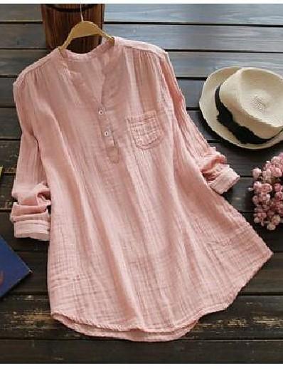 cheap Plus Size Tops-Women's Plus Size Tops Blouse Shirt Plain Pocket Button Long Sleeve V Neck Hot Spring Summer Blue Blushing Pink White Big Size L XL 2XL 3XL 4XL