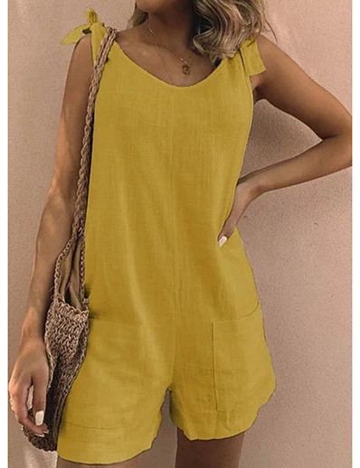 cheap Women's Rompers-Women's Ordinary Crew Neck Off Shoulder Blue Yellow Green Romper Patchwork Solid Colored Cotton