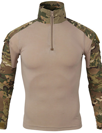 cheap Hunting Clothing-Men's Camo Hiking Tee shirt Hunting T-shirt Tee shirt Camouflage Hunting T-shirt Long Sleeve Outdoor Quick Dry Breathable Sweat wicking Wear Resistance Spring Summer Cotton Top Camping / Hiking