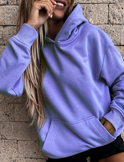 cheap Women's Tops-Women's Plain Solid Color Hoodie Pullover Front Pocket non-printing Daily Casual Hoodies Sweatshirts  Purple Blushing Pink Khaki