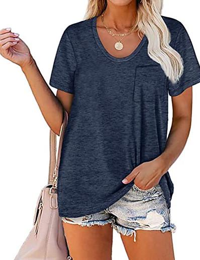 cheap Women's Clothing-LITB Basic Women's PocketT-Shirt Solid Color Tee Round Neck Blouse Summer Short Sleeve Basic Top