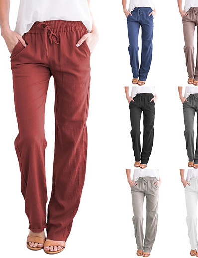 cheap Women's Clothing-LITB Basic Women's Drawstring Trousers Straight Legs Pants Solid Color Daily Wear Office Outfit Wide-Leg