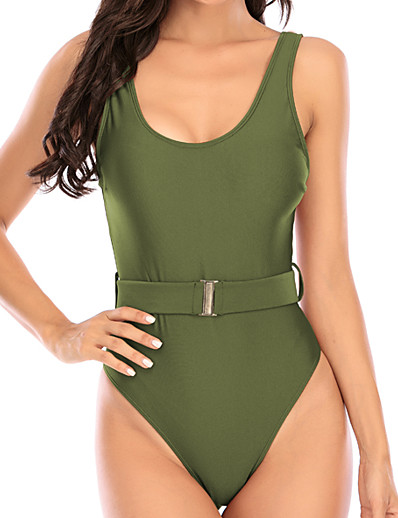 cheap Swimwear-Women's One Piece Monokini Swimsuit Tummy Control Solid Color Yellow Army Green Swimwear Padded V Wire Bathing Suits New Casual Sexy