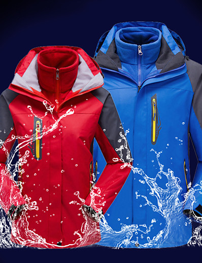 cheap Softshell, Fleece & Hiking Jackets-Men's Hoodie Jacket Hiking 3-in-1 Jackets Ski Jacket Winter Outdoor Thermal Warm Waterproof Windproof Lightweight Outerwear Trench Coat Top Fishing Climbing Running Red Army Green Blue Royal Blue