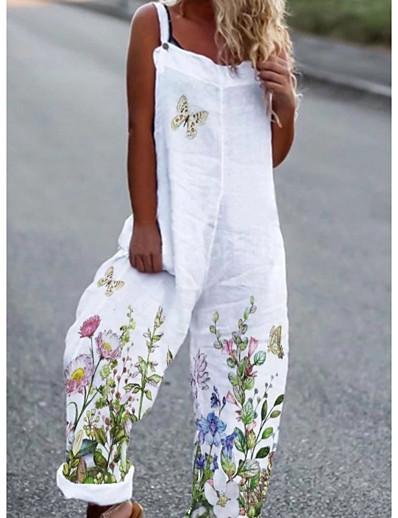 cheap Jumpsuits & Rompers-Women's Ordinary Floral White Jumpsuit Floral Print