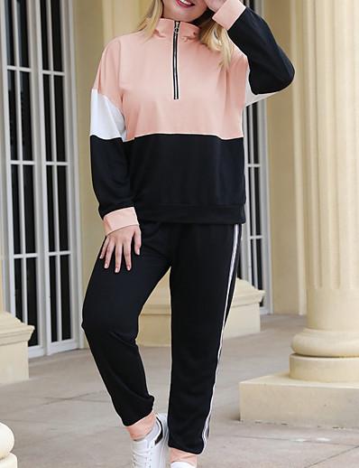 cheap Plus Size Loungewear-Women's Basic Color Block Two Piece Set Hoodie Pant Patchwork Tops