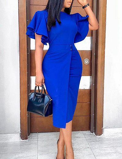 preiswerte Elegantes Damenkleid-Damen Etuikleid Knielanges Kleid Blau Purpur Wein Grün Kurzarm Volltonfarbe Herbst Rundhalsausschnitt Büro heiß 2021 S M L XL XXL 3XL
