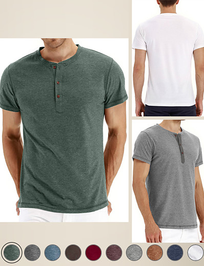 cheap Men's Clothing-LITB Basic Men's Crew Neck Short Sleeve Tee Solid Color Tops Simple Daily High Strech Performance T-shirt Regualr Workwear Daily
