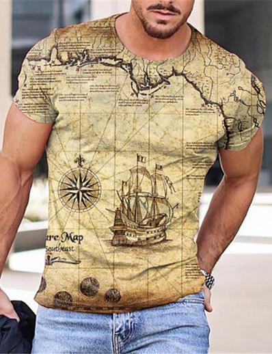 cheap Men's Tops-Men's Tee T shirt 3D Print Map Graphic Prints Print Short Sleeve Daily Tops Cotton Casual Designer Big and Tall Blue Yellow Black