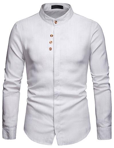 cheap Men's Clothing-LITB Basic Men's Pocket Shirt Basic Tee Casual Wear Daily Long Sleeve