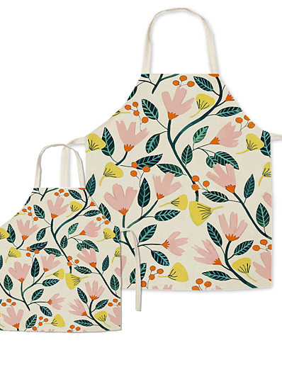cheap Family Matching Outfits-Aprons Family Look Family Gathering Floral Leaf Print Khaki Active Matching Outfits