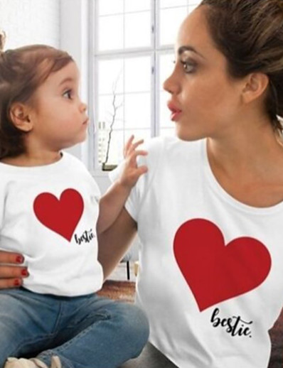 cheap Family Matching Outfits-Tops Cotton Family Look Daily Heart Print Gray White Black Short Sleeve Active Matching Outfits / Summer