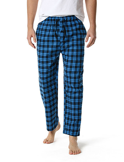 cheap Men's Clothing-Men's Bottoms Check Pattern Plaid Cotton Casual / Daily Pant Casual Home Drawstring / 1 PC