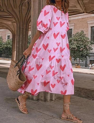 cheap Boho Dresses-Women's Swing Dress Midi Dress Polka dot-black Wave point-red Polka dot-yellow Polka dot-green Blushing Pink Green Black Red Half-Sleeve Grid / Plaid Dot Spring Summer Casual Streetwear 2021 S M L XL