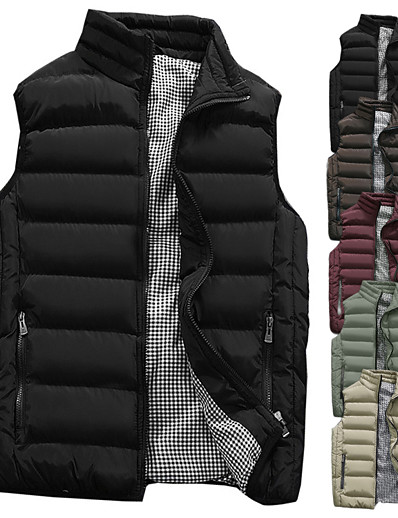 cheap Running, Jogging & Walking-Men's Sleeveless Running Vest Gilet Sports Puffer Jacket Outerwear Coat Top Full Zip Casual Athleisure Winter Thermal Warm Waterproof Breathable Fitness Gym Workout Running Jogging Sportswear Solid