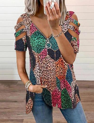 cheap Tops-Women's Bohemian Theme Blouse Graphic Zipper Print V Neck Streetwear Tops White Black Blushing Pink