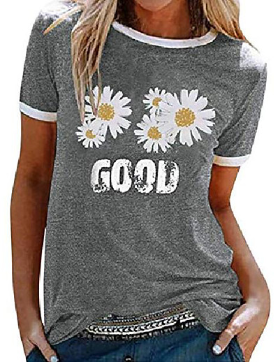 cheap Tees & T Shirts-zilin womens summer good letter print daisy graphic tee tops casual cute crewneck short sleeve t-shirt grey