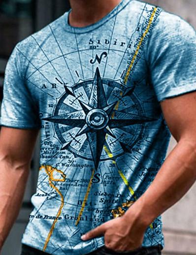 cheap Men's Tops-Men's Tee T shirt 3D Print Graphic Prints Compass Print Short Sleeve Daily Tops Cotton Casual Designer Big and Tall Blue Green Gray