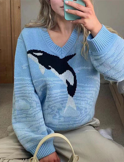 cheap Sweaters & Cardigans-Women's Pullover Animal Stylish Long Sleeve Sweater Cardigans Fall Winter V Neck Blue
