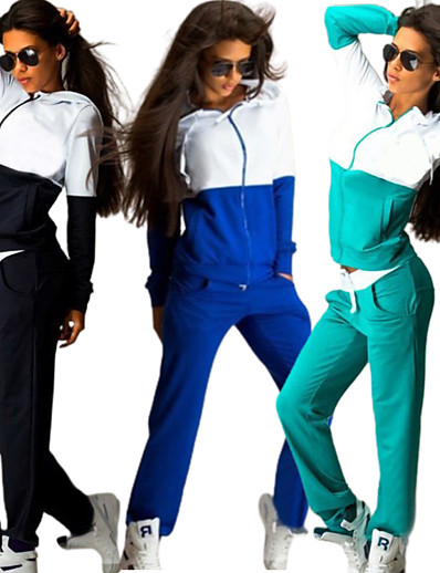 cheap Running, Jogging & Walking-Women's 2 Piece Full Zip Street Casual Tracksuit Hoodie Sweatshirt 2pcs Long Sleeve Thermal Warm Breathable Soft Fitness Running Jogging Sportswear Color Block Sweatpants Normal Pearl Pink Blue Green