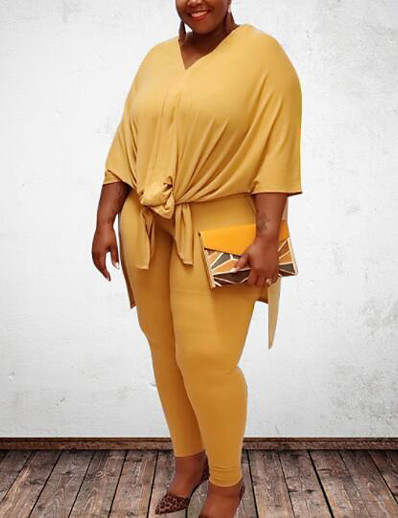 cheap Plus Size Jumpsuits-Women's Plus Size Tops Set Plain Bow Half Sleeve V Neck Spring Summer Yellow Blushing Pink Gray Big Size L XL XXL 3XL 4XL / Holiday