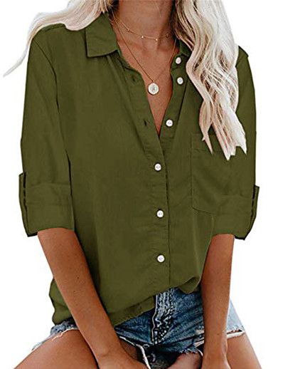 cheap Women's Clothing-LITB Basic Women's Buttoned Shirts Collar Blouse Solid Color Long Sleeve Business Wear