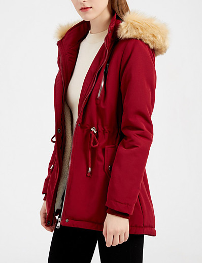 cheap Women's Outerwear-Women's Coat Fall Winter Street Casual Daily Maxi Coat Windproof Warm Regular Fit Casual Jacket Long Sleeve Quilted Solid Colored Blue Blushing Pink Wine