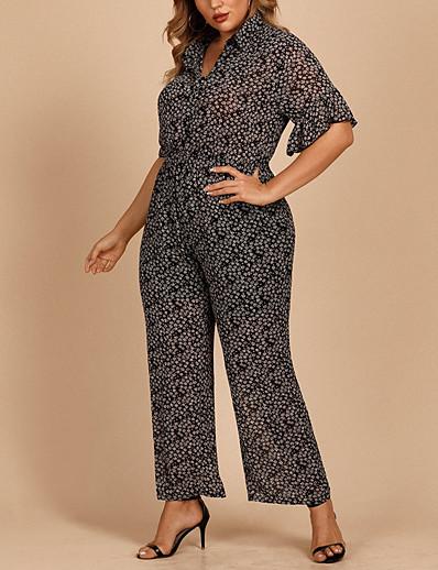 cheap Plus Size Jumpsuits-Women's Plus Size Jumpsuit Ruffle Button Graphic Short Sleeve Hot Spring Summer Black XL 2XL 3XL 4XL / Print