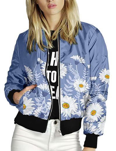 cheap Outerwear-Women's Jackets Print Print Casual Fall Jacket Regular Daily Long Sleeve Air Layer Fabric Coat Tops Blue
