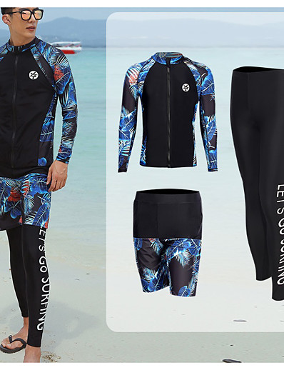 cheap Surfing, Diving & Snorkeling-Men's Rash Guard Dive Skin Suit Diving Suit UV Sun Protection Anatomic Design Quick Dry Micro-elastic Full Body 3-Piece Front Zip - Swimming Diving Surfing Snorkeling Painting Summer