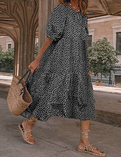 cheap Dresses-Women's A Line Dress Knee Length Dress Polka dot-black Wave point-red Polka dot-yellow Polka dot-green Short Sleeve Grid Pattern Spring Summer Casual 2021 S M L XL XXL 3XL 4XL 5XL / Cotton / Cotton