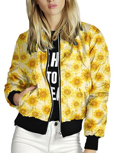 preiswerte Damen Überbekleidung-Damen Druck Druck Freizeit Herbst Jacke Standard Alltag Langarm Luftschichtgewebe Mantel Oberteile Gelb