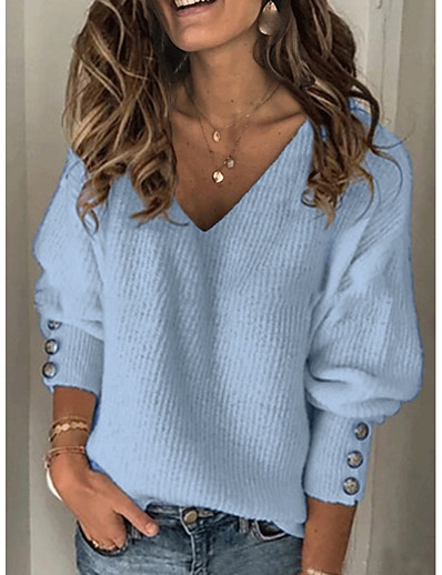 cheap Sweaters & Cardigans-Women's Casual Solid Colored Pullover Long Sleeve Sweater Cardigans V Neck Fall Winter Blue Red Gray