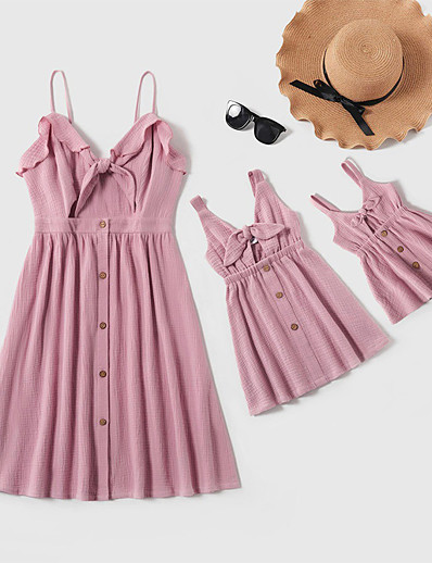 cheap Family Matching Outfits-Dresses Cotton Mommy and Me Daily Striped Solid Color Cut Out Blue Blushing Pink Knee-length Sleeveless Daily Matching Outfits / Bow