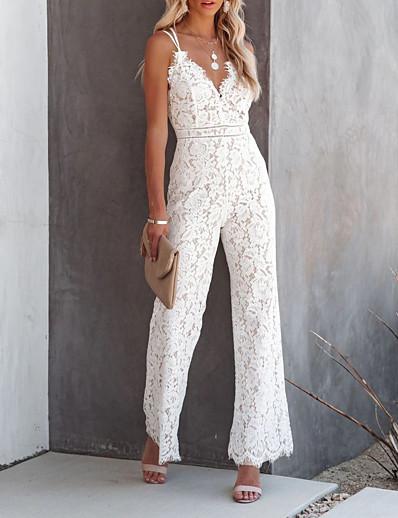 cheap Women's Jumpsuits-Women's Casual 2021 Wine White Black Jumpsuit Solid Color Lace