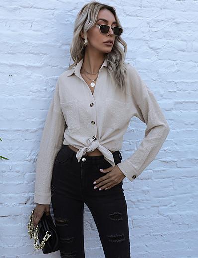 cheap Women's Tops-Women's Blouse Shirt Long Sleeve Plain Shirt Collar Pocket Button Basic Streetwear Tops Regular Fit Blue Wine Black