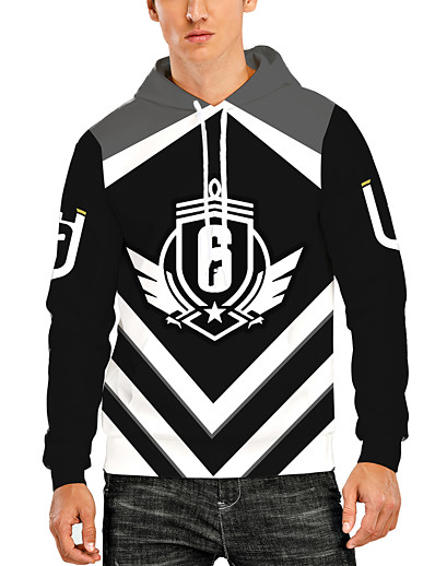 cheap Men's 3D-unisex 3d rainbow 6 six hoodies pullover r6 tom siege hooded sweatshirt s