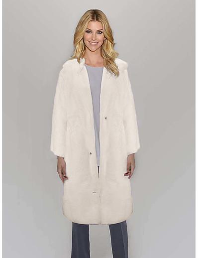 cheap Outerwear-Women's Faux Fur Coat Wedding Fall Winter Long Coat Regular Fit Elegant & Luxurious Jacket Long Sleeve Solid Colored Pocket White Black