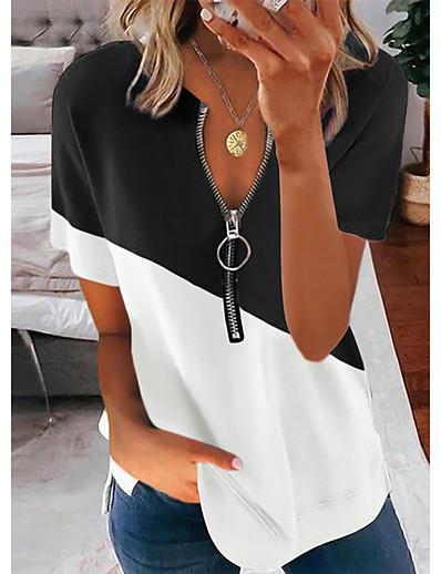 cheap Blouses & Shirts-Women's Blouse T shirt Shirt Floral Theme Sunflower Leaf Portrait Sunflower V Neck Zipper Patchwork Basic Streetwear Tops Blue Blushing Pink Gray