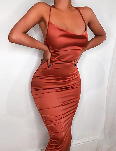 cheap Dresses-Women's Midi Dress Strap Dress Ji Hong Blushing Pink Black Red Army Green Sleeveless Solid Color Spring Summer Casual 2021 Regular Fit XS S M L